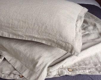U.S. King Linen Duvet Cover & Sham Set in Natural Linen Color