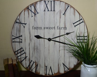 "24"" Clock, Large Rustic Wood Clock, Farmhouse Clock, Old World, Wood Clock, Wooden Clock, Farm House Clock, Natural Wood Clock Wall Clock"