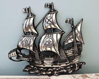 Vintage Cast Steel Sailing Ship Nautical Wall Hanging / Clipper Wall Hanging / Pirate Ship / Cast Metal Sailing Ship  Wall Hanging