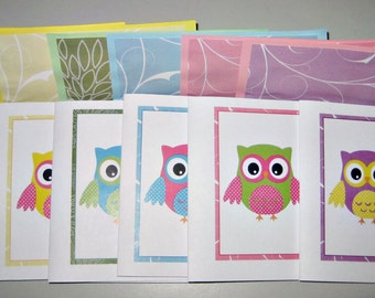 "Owl themed handmade notecards set of six  5"" x 4"" blank notecards matching lined envelopes and round gloss seals gift set Owl design"