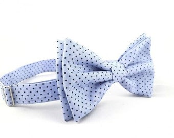 Handmade Bow tie with black dots