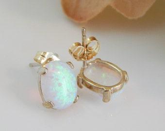 Opal Earrings, White Opal Post Earrings, Sterling Silver Opal Earrings [976]