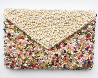 Colourful bead embellished clutch bag purse