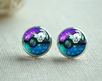 Squirtle Earrings, Squirtle Studs,Pokemon Earrings,Tortoise Jewelry, Anime Jewelry, Pokeball Stud Earrings, Picture St uds(EH190)