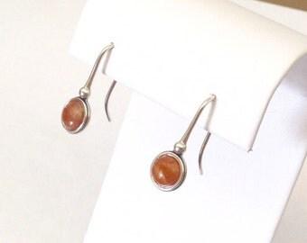 Sunstone earrings, Oregon sunstone, silver sunstone jewelry, orange jewelry, simple silver earrings, orange gem earrings, Magpie Crone, 2078