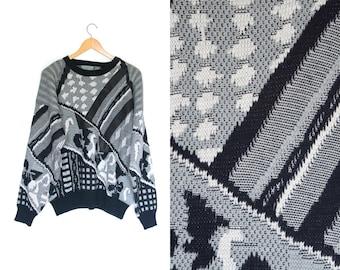 Vintage abstract retro sweater. 80s Sweater. Striped pullover. Geometric sweater. Black + White + Grey. Graphic retro.
