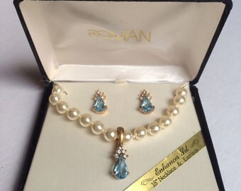 Vintage Roman Enhancer Pearl Pendant Necklace And Pierced Earring Set In Original Box / Blue Stones / Rhinestones