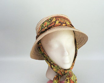 Womens Straw Sun Hat With Chin Ties