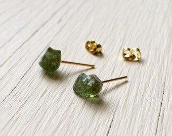 small raw peridot apatite earrings surgical steel studs
