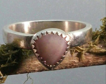 Sterling Silver Pink Opal Stacker Ring