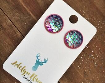 12 mm Purple Mermaid Earring Studs in Pink Setting