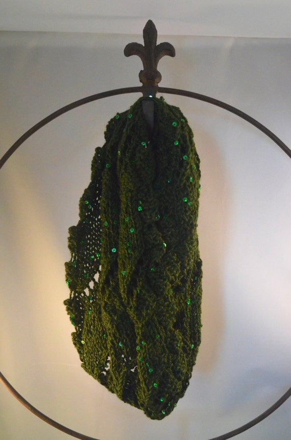 Forest Green Sparkle Infinity Scarf (LSI011)