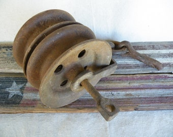 Vintage Double Wheel Pulley Architectural Salvage Vintage Pulley Barn Find Old Cast Iron Pulley