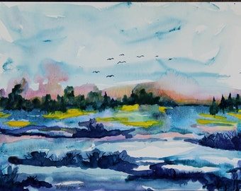Abstract landscape original water color painting