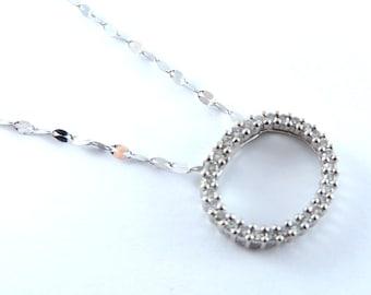 Classic Round Circle Diamond Pendant Chain Necklace 14K White Gold