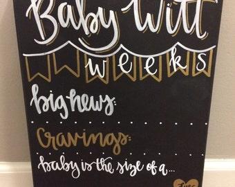 Weekly pregnancy Chalkboard / week pregnancy stats / pregnancy Chalkboard / weekly chalkboard / maternity / pregnancy announcement Canvas