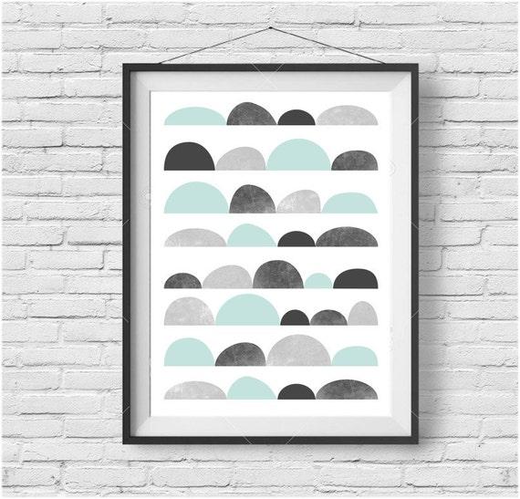Mint gray art abstract print funky wall decor mint art for Funky wall art