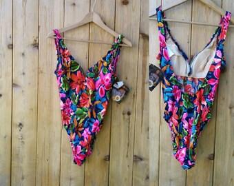 80s swimsuit   Vintage bathing suit   Flower one piece Retro  Push up swimsuit   Kathy Ireland