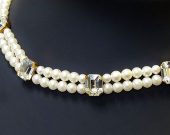 Vintage Faux Pearl Necklace Hand Made Two Strand with Large Faceted Squared Sparkling Rhinestone Accents Beautiful Evening Piece