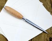 Bird's Eye Maple Chrome Letter Opener - Handcrafted Wood & Chrome Letter Opener By Whiddenswoodshop