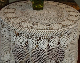 Vintage,   HAND MADE White Crochet Lace, 52 inch,  Round Tablecloth, Weddings.