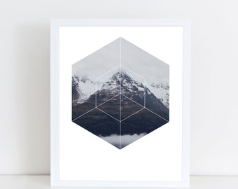 Snow Mountain Art Print - Inspirational Nature Wall Art, Cold Winter Snow Day Geometric Photography Art, Printable Climbing Mountain Poster