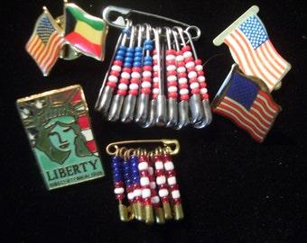 Patrotic Vintage American Flag Pin's and Tie tack Pin