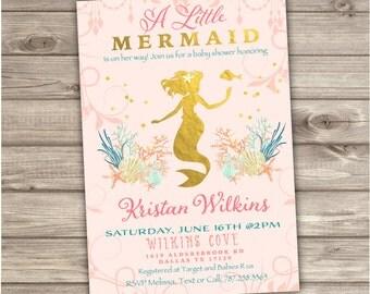 Mermaid Baby Shower Invitations NV906
