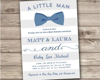 bow tie baby shower invites