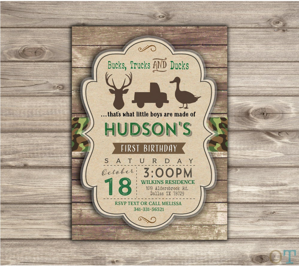 Bucks Trucks And Ducks Country Farm Invitations Birthday Camo