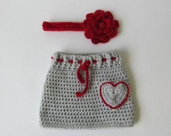 Crochet baby skirt, crochet newborn skirt, skirt with headband, crochet infant skirt, baby skirt, baby girl skirt, newborn girl outfit,