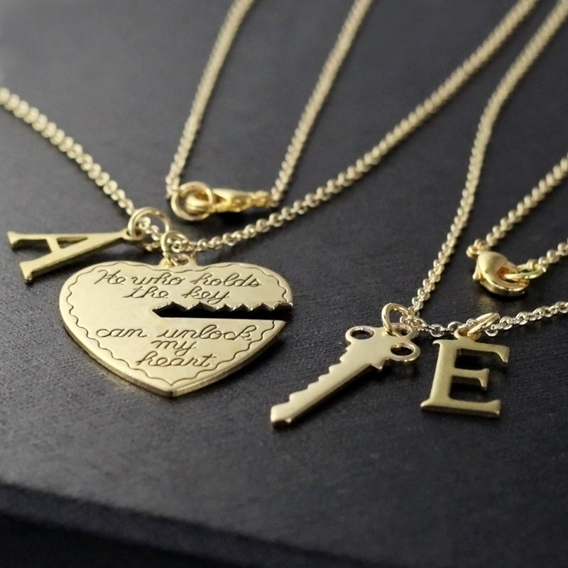 boyfriend girlfriend gift he who holds the key gold necklace