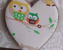 Unisex, neutral cream and brown woodland owl heart nursery decor, kids, children's bedroom, new baby, baby shower, keepsake gift, photo prop