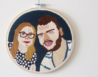 Custom made-| 4 persons embroidered portrait