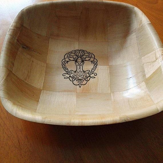 Norse Viking  Tree of Life Engraved NATURAL wooden bowl unique fruit / egg basket / nik naks viking art