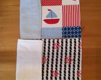 Sail Away With Me Burp Cloth Set of 2, Flannel Burp Cloth, Reusable Burp Cloth