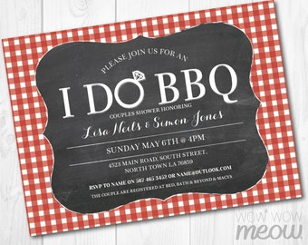 I Do BBQ Engagement Party Invite Couples Shower INSTANT Download Red Check Chalkboard Mr & Mrs Invitation Personalize Editable Printable