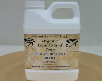 Organic Liquid Hand Soap 16 oz Refill, Pick Your Scent