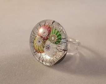 Silver and Millefiore Murano Glass Ring by Tommasi –Non- adjustable