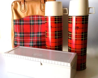 Vintage Plaid Thermos Picnic Set With Carry Bag - 2 Thermoses and Lunch Box - By King Seeley Co.