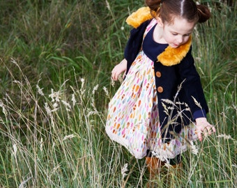 Girls Teddy Jacket - Handmade for Girls - Corduroy Pinafore - Girls jacket- Girls Boutique Outfit - feather design