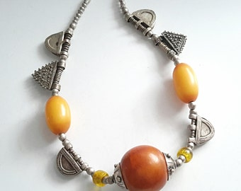 antique Ethiopian old resin Amber silver telsums Necklace