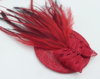 Poppy Red Fascinator with red sinamay bow detail detail, emu feathers and siam swarovski crystals