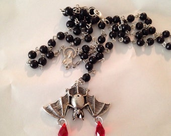 Black Rosary Rosaries with Bat Red Bead Drops Necklace Halloween