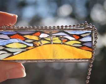 Stained Glass Mosaic Pendant or Car Art, Car Charm-Easter Message