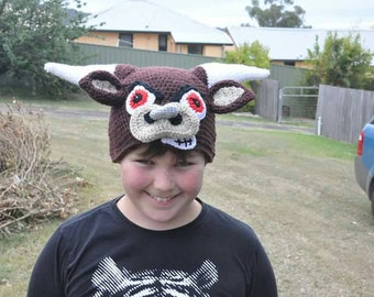 Angry bull hat, beanie costume dress up novelty cow.