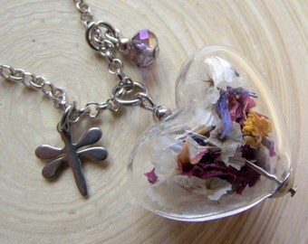 Chain heart flowers mix glass hollow bead