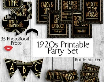 Printable 1920s Party Set, Prohibition era party theme decor, props 20s art deco theme package, gatsby style faux gold and black decorations