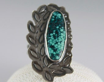 Turquoise statement ring spider web turquoise ring sterling silver hand stamped gemstone ring turquoise jewelry silversmith boho gypsy