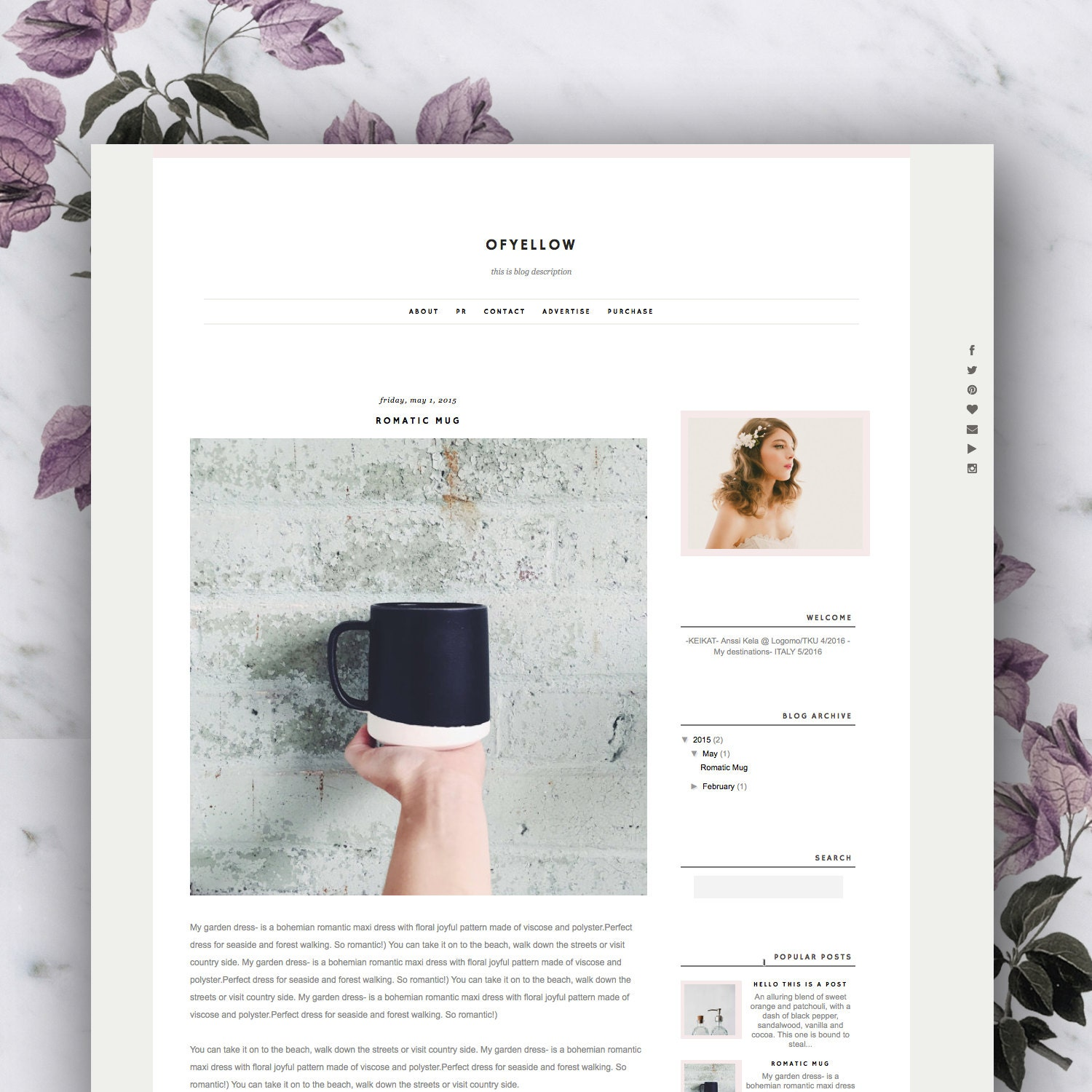 Premade Blogger Template Ofyellow